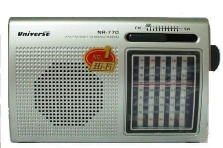 רדיו טרנזיסטור MEGA SOUND רב גלים עם פנס מבית UNIVERSE