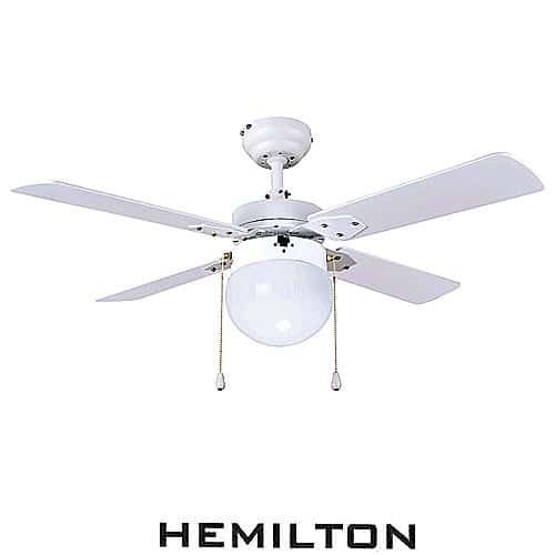 """מאוורר תקרה לבן + תאורה 42"""" HEMILTON דגם HEM-650"""
