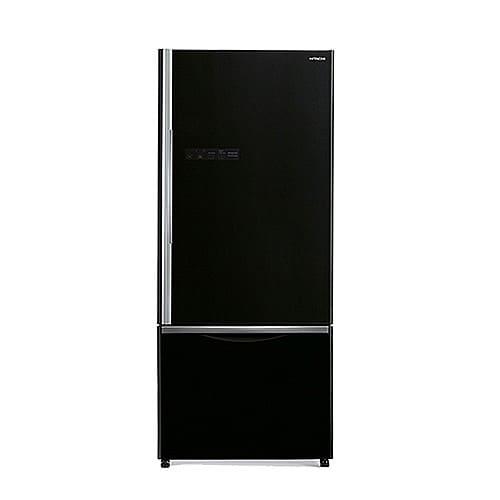 מקרר היטאצ׳י 587 ליטר 2 דלתות מקפיא תחתון זכוכית שחורה R-B570PRS7(GBK) HITACHI